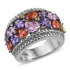AAA Simulated Multi Gem Stone Ring In ION Plated Stain/Steel Size S (10.750Cts)