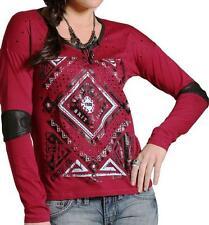 NEW Cruel Girl Western Shirt Womens L/S Tee Maroon M (12)