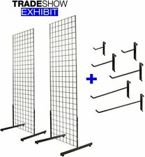 2' x 6' Gridwall Panel Tower with T-Base Display Kit, 2-Pack Black w/ 40 Hooks