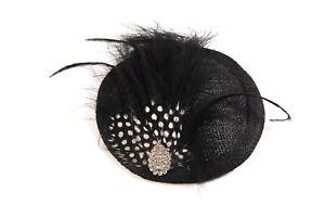 Black Polka Dot Rhinestone Fascinator Hatinator Races Disc Wedding Derby Hat