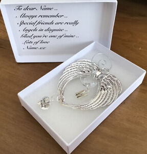 """Angel Wings Personalised Initial """"Special Friend"""" Angel Message + Gift Box"""