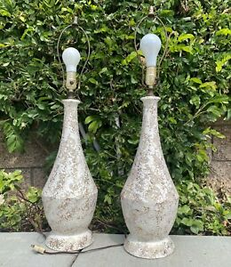 Vintage Mid Century Modern Table Lamps White GOLD Speckled UL Leviton Ceramic