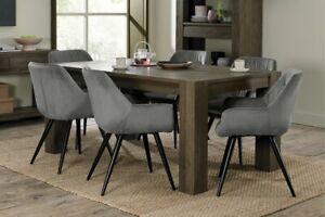 Constable / Sierra Fumed Oak 6 Seater Dining Set- Dali Grey Velvet Chairs