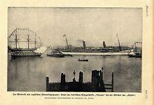 """Weltreise des englischen Thronfolgerpaars Abfahrt des """"Ophir"""" Portsmouth 1901"""