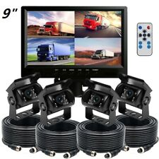 """9"""" Monitor 12V/24V 4PIN 4x Reversing Rearview CCD Camera Truck Bus 4 AV inputs"""