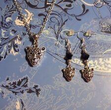 Jaguar Leopard Silver Chain Necklace & Earrings*~$1 SHIP