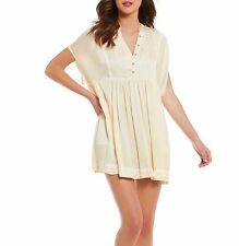 NWT FREE PEOPLE SzXS ROWAN V-NECK SHORT SLEEVE SWING MINI DRESS YELLOW $108