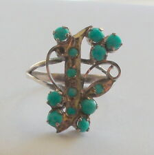 Natural Turquoise 925 Silver Ring 13.90 ct ,Vintage Estate Jewelry. Sz 6.25