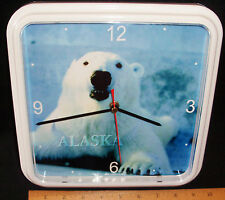 "ALASKA POLAR BEAR PHOTO WALL CLOCK BY CENTURY CLOCK - 9"" X 9"" SQUARE/WHITE"