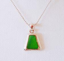 New Drop Triangle Green Irish Rhinestone Charm Chain Necklace Pendant NE1279A