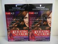 Schwarzkopf Keratin Color RED VELVET BROWN 4.3 Permanent (2Pack)