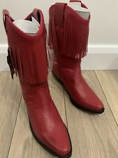 line dancing boots Red Cowboy Size Uk 6 Leather Cowgirl Western Ladies Women