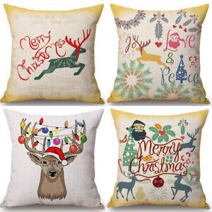 18'' Christmas Deer Cotton Linen Pillow Case Sofa Cushion Cover Home Decor