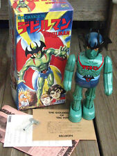 "RARE ~ BILLIKEN 1998 Mechanical DEVILMAN Wind up 9"" Tin Toy Robot JAPAN ~ NIB"