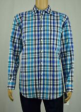 Club Room Mens Turquoise Navy White Plaid Long Sleeve Button-Down Shirt L