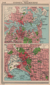 Australia cities. Sydney, Melbourne. BARTHOLOMEW 1949 old vintage map chart