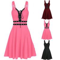 Gothic Punk Hem Women Camisole Irregular Mini Dress Plus Size Sleeveless