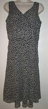ANN TAYLOR Black & White Floral Print SILK DRESS 8 Sleeveless