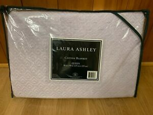 "Laura Ashley Cotton Blanket Queen Lavender Light Purple Bedding 90"" x 90"""