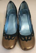 Ladies 7 Vagabond Bronze & Bottle Green  Wedge Heels Shoes Party Work EUC