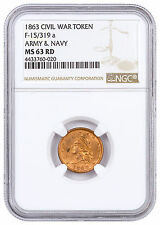 1863 United States Army & Navy Civil War Token NGC MS63 RD SKU46390