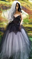 WILLOW Goth Black White Embroidered Lace Tulle Corset Wedding Bridal Ballgown