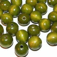 WXL649L2 Green 20mm Round w 4mm Hole Wood Beads 16-oz Package (192pcs)