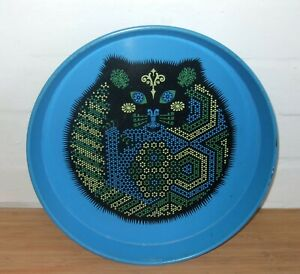 Vintage Turquoise Blue Metal Tray with Cat Design 1960s 1970s Made in England