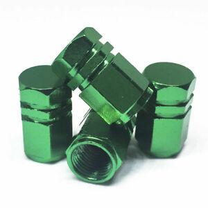 4 PCS Green Hexagonal Universal Vehicle Tire Valve Cap