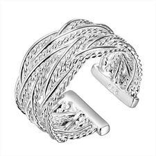 925 Silver Plt Adjustable Lattice Woven Ring Intertwined Thumb Braid Wrap  B