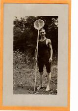 Real Photo Postcard RPPC - Male Swimmer and Fishing Net