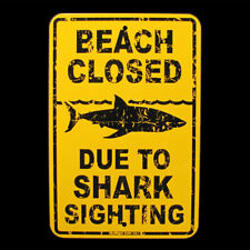 Tin SHARK SIGHTING BEACH CLOSED Surfer Warning Sign Bar/Pub/Surf Shop Wall Decor