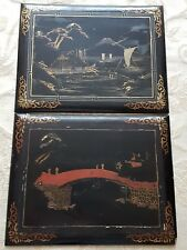 A Pair Of Antique Japanese Black Lacquer Panels c1900