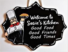 FAT CHEF Personalize KITCHEN Good Food/Friends/Times SIGN Wall Art Plaque Bistro