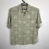 Roundtree & Yorke Silk Shirt Hawaiian Mens Size XL Floral Woven Short Sleeve