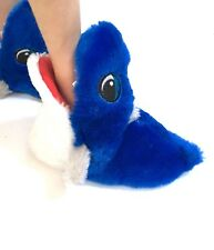 Toddler Boys Blue Plush Shark Bite Slippers Size Small 5-6 NEW