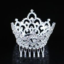 Mini Kids Crown Tiara with Hair Combs Clear Crystal Bridal Pageant Party Prom