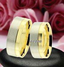 2 Trauring Eheringe Verlobungsringe , GOLD PLATIERT ,* J224-5