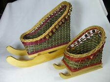 2 CHRISTMAS Holiday WICKER BASKET Santa SLEIGH Centerpiece Display Sleds