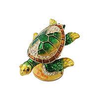 "2.25"" Turtle Trinket Box Pewter & Enamel Animal Figure Wild Ocean Reptile Decor"