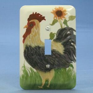New Leviton Country Rooster 1-Gang Toggle Light Switch Cover Wallplate 89001-RST