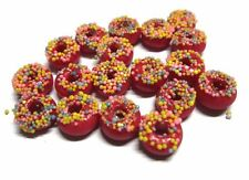 20 Loose Strawberry  Donuts Dollhouse Miniatures Food  Bakery Deco