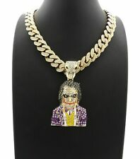 DIAMOND JOKER PENDANT GOLD HEAVY MIAMI CUBAN LINK CHAIN NECKLACE HIP HOP RAPPER