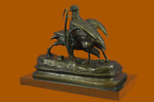 Bronze Large Hot Cast Two Love Birds Marble Base Figurine Gift Sculpture Bb