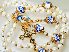 Antiqued White Pearl Ceramic Flower Medjugorje Virgin Mary Rosary Swarovski