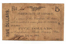 1862 The State Bank of Florida, Tallahassee- $5 Certificate of Deposit - Rare