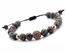2017 Men's Bracelet 8mm Gray Jasper & Rose Gold Ball Beaded Bracelet Adjustable