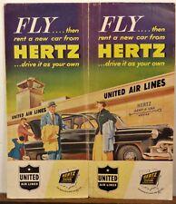 1953 Hertz Drive-Ur-Self United Airlines vintage car rental travel brochure b