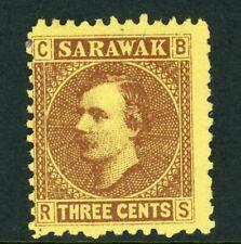 Sarawak James Brook administration 3c yellow-brown stamp (SG 2) 1871 Mint.