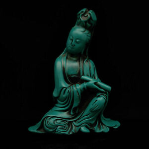 Chinese Hand-carved Exquisite Natural Turquoise Guanyin Statue    S259